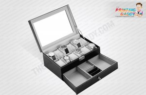 Black Hinged Watch Box with Metal Lock The Printing Daddy