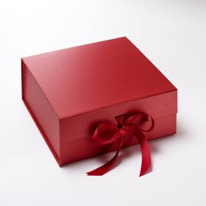 Collapsible Red Wedding Box with Ribbon