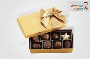 Luxury Gold Chocolate Lid-Off Box with Ribbon The Printing Daddy