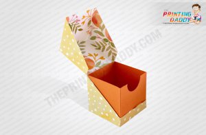 Texture Brown Hexagon Box with Ribbon The Printing Daddy