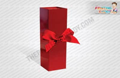 Collapsible Red Wedding Box with Ribbon The Printing Daddy