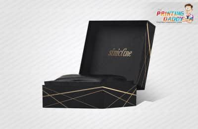 Hinged Black with Gold Logo Box The Printing Daddy
