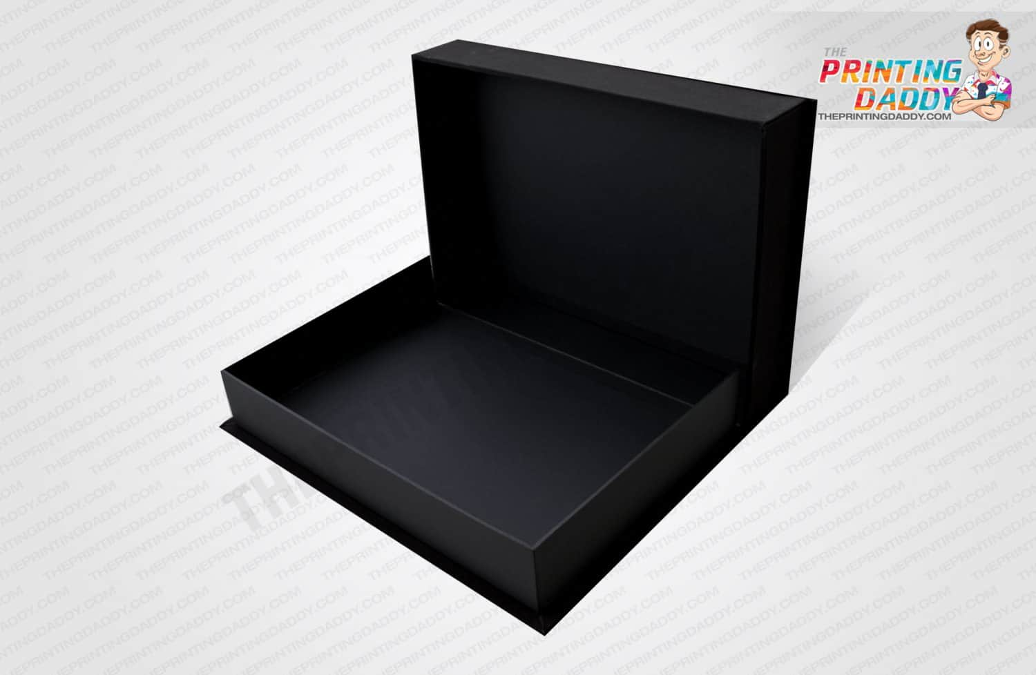 Black Hinged Box with Green Logo The Printing Daddy